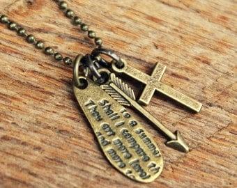 Indie Antiqued Triple Charm Necklace... Shakespeare Sonnet 18, Cross, Arrow
