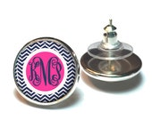 Navy Blue Chevron Monogram Earring, Personalized Monogram Stud Earrings, Monogram Jewelry, Bridesmaid Jewelry (516)