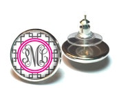 Monogram Earring, Reverse Square Monogram Stud Earrings, Monogram Jewelry (475)