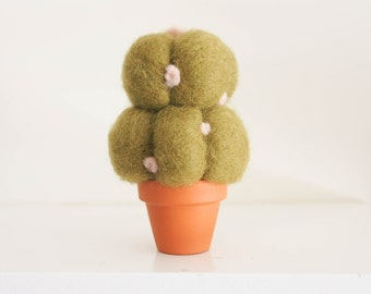 Mistletoe Potted Cactus, Eo-Friendly Cactus, Terrarium, Felt Flowers, Felted Escobaria Potted Plant, 4 1/2  inches tall