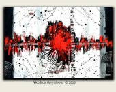 "40"" x 60"" Original Abstract Art -'My heart beats on' by Nkolika Anyabolu. Bold. Red Wall art."