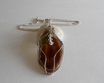 Brown Agate Pendant Brown Agate Slice Wire Wrapped Agate Wire Wrapped Pendant Chain Necklace Brown Pendant Brown Agate Silver Tone Chain