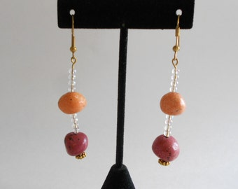 Orange Earrings Ceramic Beads Beaded Earrings Rust Earrings Pierced Earrings Dangle Earrings Glass Seed Beads Gold Tone Findings