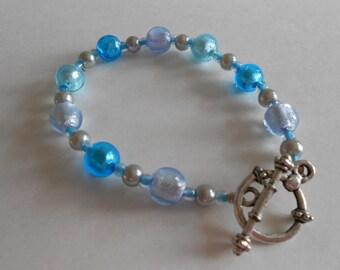 Blue Beads Bracelet Blue Glass Beads Blue Lamp Work Beads Blue Bracelet Silver Beads Beaded Bracelet Lamp Work Bracelet Silver Tone Findings