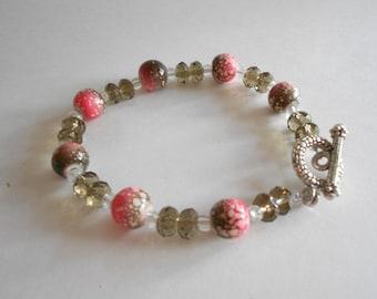 Orange Bracelet Brown Bracelet Glass Beads Bracelet Smoke Glass Beads Beaded Bracelet Silver Tone Findings Orange Beads Brown Beads