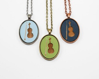Violin Pendant - Laser Engraved Wooden Cameo (Custom Made / Any Color)