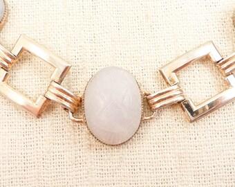 SALE ---- Vintage Coro Goldplated Sterling Square Link Bracelet with Carved Jade Scarabs