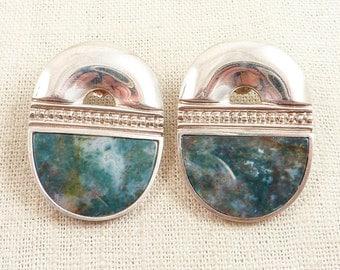 SALE --- Huge Vintage Moss Agate and Sterling Earrings