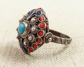 Size 6.75 Antique Chinese Sterling Turquoise and Blue and Coral Enameled Ring