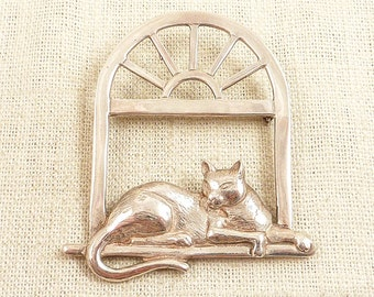 SALE --- Vintage Mexican Sterling Cat Lounging in a Windowsill Brooch