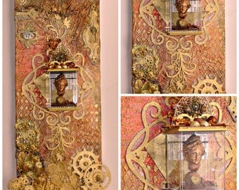 Steampunk Regal Lady Artifact Altered Elongated Canvas Handmade OOAK