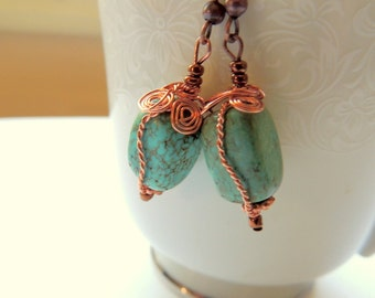 Turquoise and Copper Earrings, Wire Wrap Earrings, Copper Wire Wrap, Handcrafted Jewelry, Gemstone Jewelry, Dangle Earrings, Native Style
