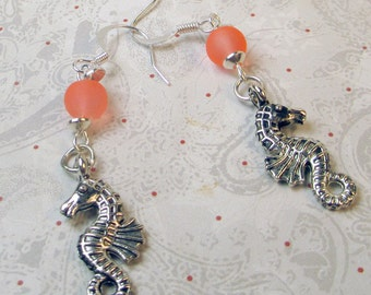 Seahorse charm with coral frosted bead dangle earrings, silver seahorse earrings, coral bead earrings, seahorse earrings