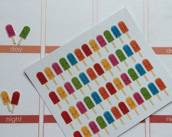 Planner Stickers 48 Small Kawaii Popsicle Stickers Fits Erin Condren Planner Planner Stickers
