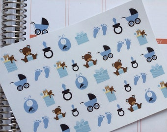 Baby Boy Stickers, New Baby Stickers, Fits Erin Condren Planner, Stickers, Baby Shower Gift