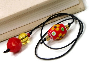 Beaded Bookmark Red Yellow Flower Book Thong Book Cord String Bookmark Gift under 5 Book Club Teacher Gift