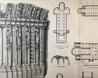 1888 Antique German Print of Churches - Freiberg - Bamberg - Reindorf - Speyer - Naumburg - Worms - Laach- Plate 43