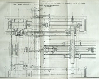 Antique Print of Horizontal Winding Engines - August 9, 1878 Technical Drawing - Engineering Drawing - Gift for Him