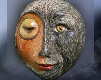 Day and Night Collide - Mask Sculpture, Porcelain Face Pendant, Original Mask Art, Art to Wear