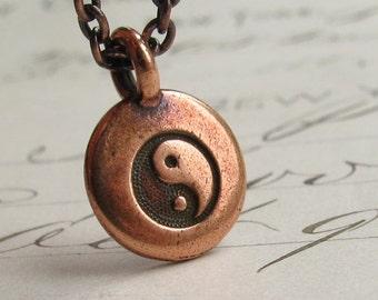 Copper Yin Yang necklace, Zen meditation, small meditation pendant, miniature, peace, spiritual calm, charm necklace, yoga jewelry