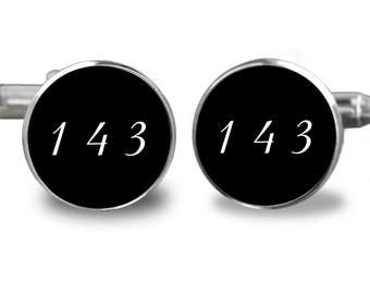 I Love You 143 Silver or Gold-Cufflinks-Wedding- Cufflink Box-Jewelry Box-Keepsake-Gift-Man gift-Boyfriend-Groom-Made In USA