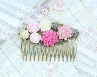 Pink Hair Comb Floral Hair Comb Vintage Style Comb Flower Hair Piece Bridal Hair Comb Wedding Flower Comb