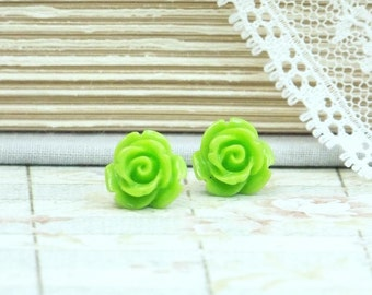 Green Rose Earrings Green Stud Earrings Rose Studs Lime Green Earrings Rose Stud Earrings Hypoallergenic