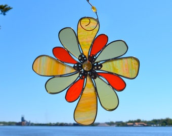 Indian Blanket Flower Stained Glass Suncatcher