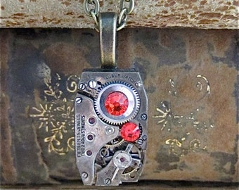 STeampunk necklace - Time Piece- Steampunk Necklace - Repurposed Art