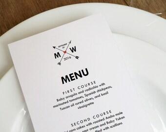 Monogram Arrows Printable Menu Template - Hearts and Arrows Wedding Menu Printable - Wedding Menu - Instant Download Menu - Arrows PDF