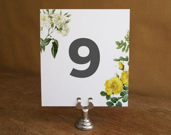 Printable Table Number - Floral Table Number Template - Wedding Table Number Printable - Botanical - Rose Table Number - Table Number PDF