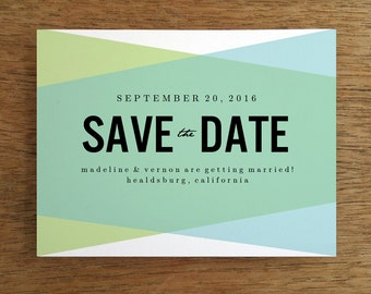 Printable Save the Date Card - Save the Date Template - Instant Download - Save the Date PDF - Blue Green Geometric Save the Date Card - DIY