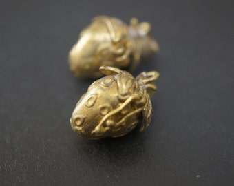Authentic Vintage Stock Raw Brass Strawberry Shape Magic Chest Mini Charm Wish Box - 2 pcs - NO COUPON