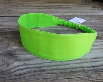 Fabric Headband with elastic: Lime Green Cotton