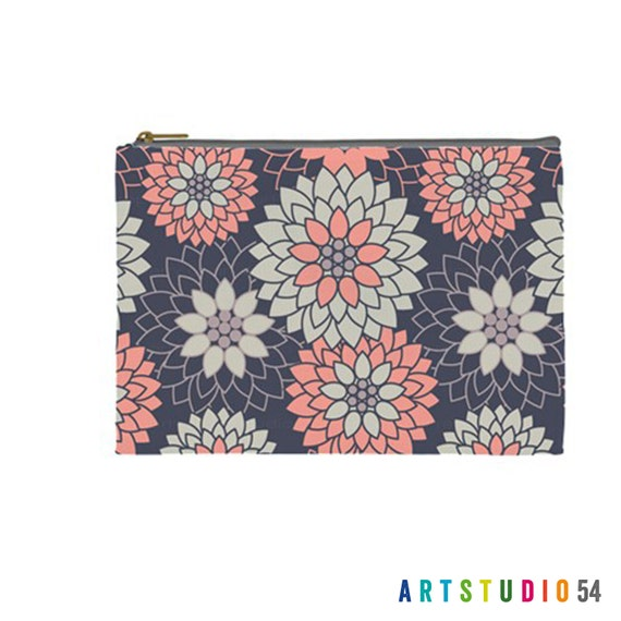 "Flower Pattern on a Pouch, Make Up, Cosmetic Case Travel Bag - Peach, Navy, Blue, Gray - 9"" X 6"" -  Large -  Made by artstudio54"