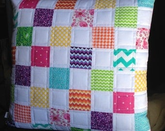 Handmade quilted pillow cover - patchwork vintage sheets summer patchwork