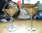 Silver Tone Metal Stamped Martini Glasses Candle Holders Witch Owned Pagan India Ritual