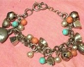 India Bells and Beads Charm Bracelet Hippie Boho Gypsy