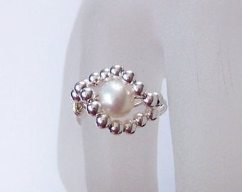 Sterling Silver Ring - The Pearl Eye - Wire Wrapped Ring - Sterling Silver and Freshwater Pearl Wrapped Ring - All Sizes Available