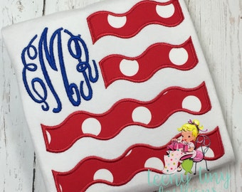 4th of July Shirt ~ Flag Shirt ~ Red White Blue Shirt ~ Monogrammed Flag ~ Patriotic Shirt ~ Military ~ July 4th ~ Independence Day
