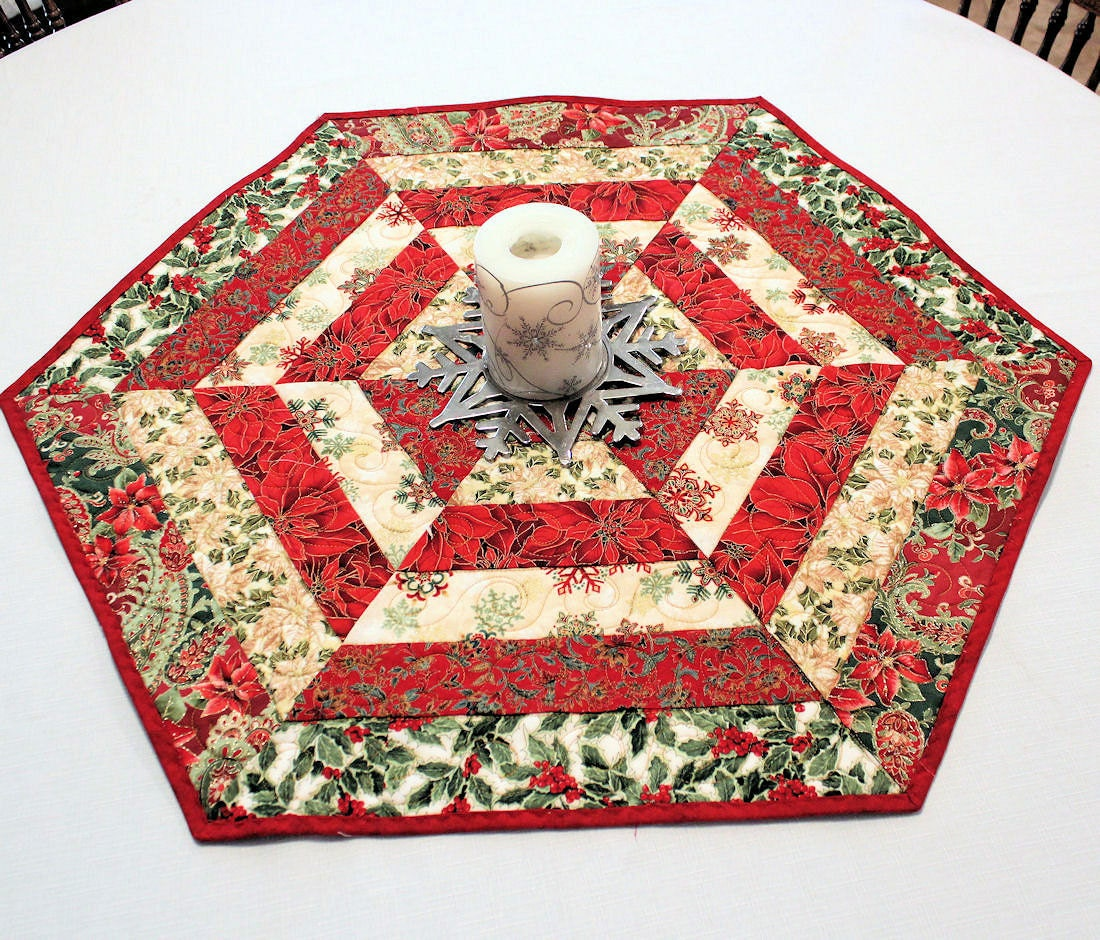 Christmas Quilted Table Runner Hexagon Table By