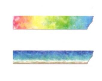 Rink Washi Masking Tape - Watercolor Seashore / Watercolor Rainbow  - Haruka Hasegawa
