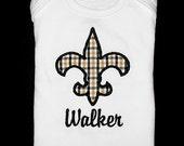 Custom Personalized Applique New Orleans Saints FLEUR de LIS and NAME Shirt or Bodysuit - Black and Gold