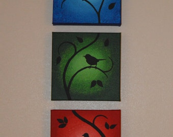 """Acrylic Painting 8"""" x 26"""" x 1.5"""" gallery wrapped canvas """"Three Birds"""""""