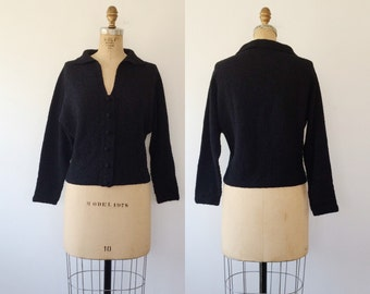 1950s cardigan / 50s knit sweater / Ebony knit sweater