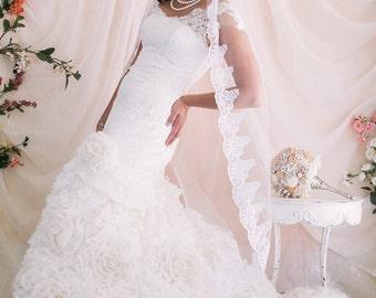 Wedding Veil, Embroidered Lace Tulle Veil, Bridal Veil, White Veil