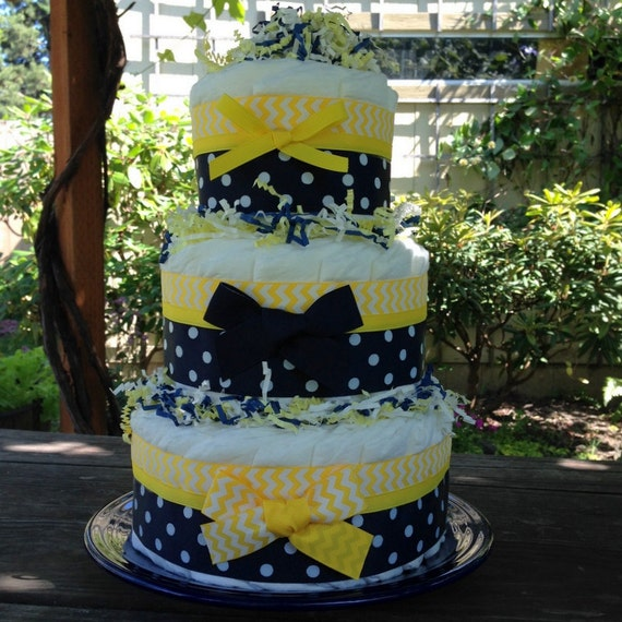 baby blue and yellow wedding cakes items similar to navy blue amp yellow chevron baby 10995