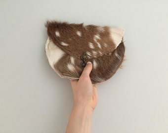 handmade leather clutch / hide bag / fur purse / deer hide / purse / evening / makeup bag FSACDE04