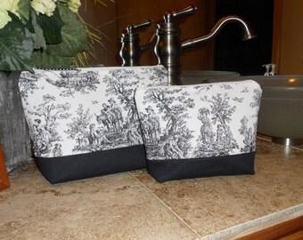 Black and White Toile Toiletry Bag / Make Up Bag / Cosmetics / Set / Organizer / Travel / Storage