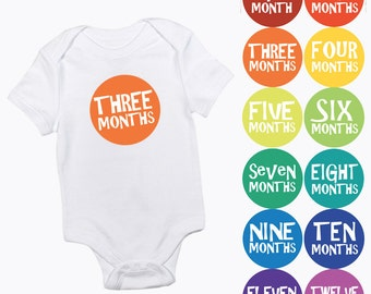 rainbow new baby monthly milestone stickers - months 1-12 pre cut - multi-coloured gender neutral boy or girl growth colorful photo prop